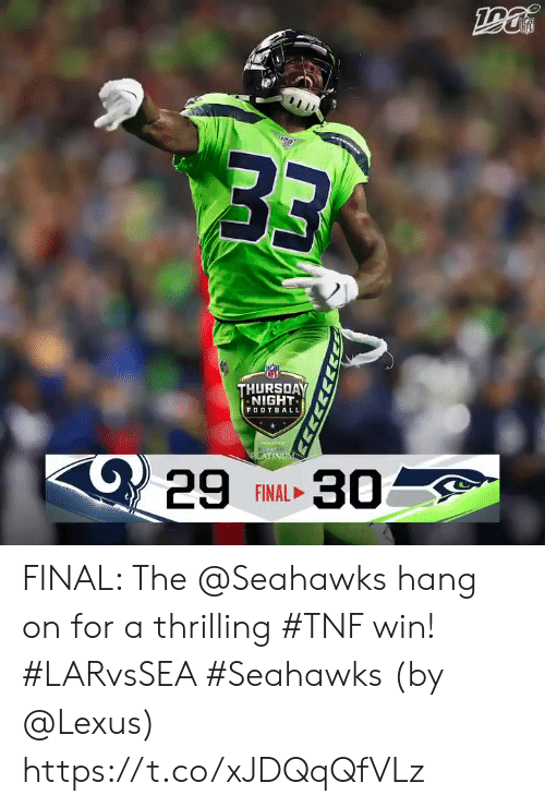 lexus: B3  THURSDAY  NIGHT  FOOTBALL  C29  LATINUM  30  FINAL FINAL: The @Seahawks hang on for a thrilling #TNF win! #LARvsSEA #Seahawks  (by @Lexus) https://t.co/xJDQqQfVLz