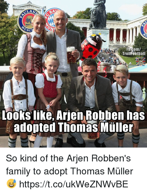 thomas muller: BA  UNC  Trollfootball  Looks like, Arjen Robben has  adopted Thomas Müller So kind of the Arjen Robben's family to adopt Thomas Müller 😅 https://t.co/ukWeZNWvBE