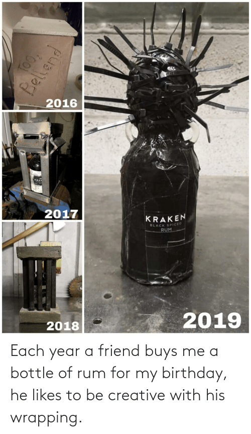 kraken: BA17  2016  KRAK  2017  KRAKEN  BLACK SPICED  RUM  2019  2018  TOO,  Bellend Each year a friend buys me a bottle of rum for my birthday, he likes to be creative with his wrapping.