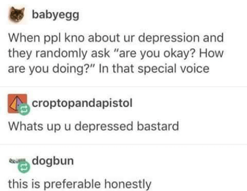 """Kno: babyegg  When ppl kno about ur depression and  they randomly ask """"are you okay? How  are you doing?"""" In that special voice  croptopandapistol  Whats up u depressed bastard  dogbun  this is preferable honestly"""