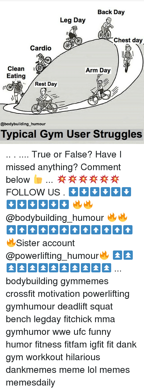 Chest Day: Back Day  Leg Day  Chest day  Cardio  Clean  Arm Day  Eating  Rest Day  @bodybuilding humour  Typical Gym User Struggles .. . .... True or False? Have I missed anything? Comment below 👍 ... 💥💥💥💥💥💥 FOLLOW US . ⬇️⬇️⬇️⬇️⬇️⬇️⬇️⬇️⬇️⬇️⬇️⬇️ 🔥🔥@bodybuilding_humour 🔥🔥 ⬆️⬆️⬆️⬆️⬆️⬆️⬆️⬆️⬆️⬆️⬆️⬆️ 🔥Sister account @powerlifting_humour🔥 ⏫⏫⏫⏫⏫⏫⏫⏫⏫⏫⏫⏫ ... bodybuilding gymmemes crossfit motivation powerlifting gymhumour deadlift squat bench legday fitchick mma gymhumor wwe ufc funny humor fitness fitfam igfit fit dank gym workkout hilarious dankmemes meme lol memes memesdaily