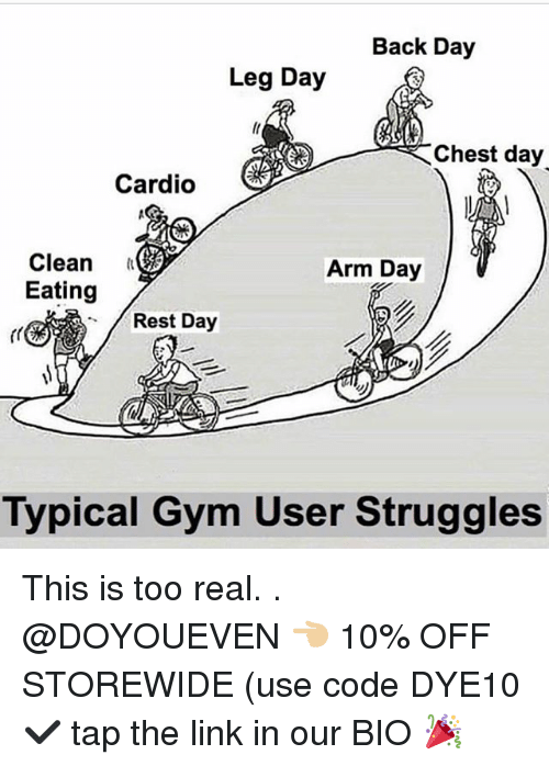 Chest Day: Back Day  Leg Day  Chest day  Cardio  Clean  Eating  Arm Day  Rest Day  Typical Gym User Struggles This is too real. . @DOYOUEVEN 👈🏼 10% OFF STOREWIDE (use code DYE10 ✔️ tap the link in our BIO 🎉