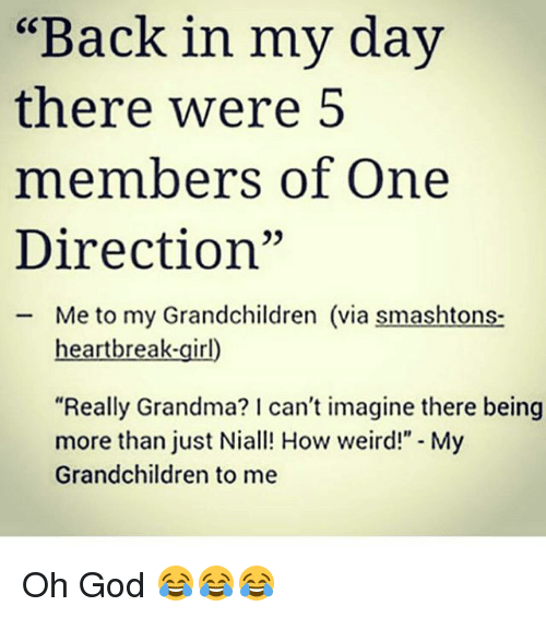 Back in My Day There Were 5 Members of One Direction Me to