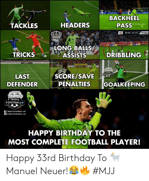 Troll Football: BACKHEEL  PASS  TACKLES  HEADERS  390:00 +02:53  FC  LONG BAL  TRICKS  ASSISTSDRIBBLING  SCORE/SAVE  FOOTBALL  LAST  DEFENDER  PENALTIES GOALKEEPING  TROLL  FOOTBALL®  f/TROLLFOOTBALL.HD  回@TROLLFOOTBALL.HD  HAPPY BIRTHDAY TO THE  MOST COMPLETE FOOTBALL PLAYER! Happy 33rd Birthday To 🐐 Manuel Neuer!😂🔥   #MJJ