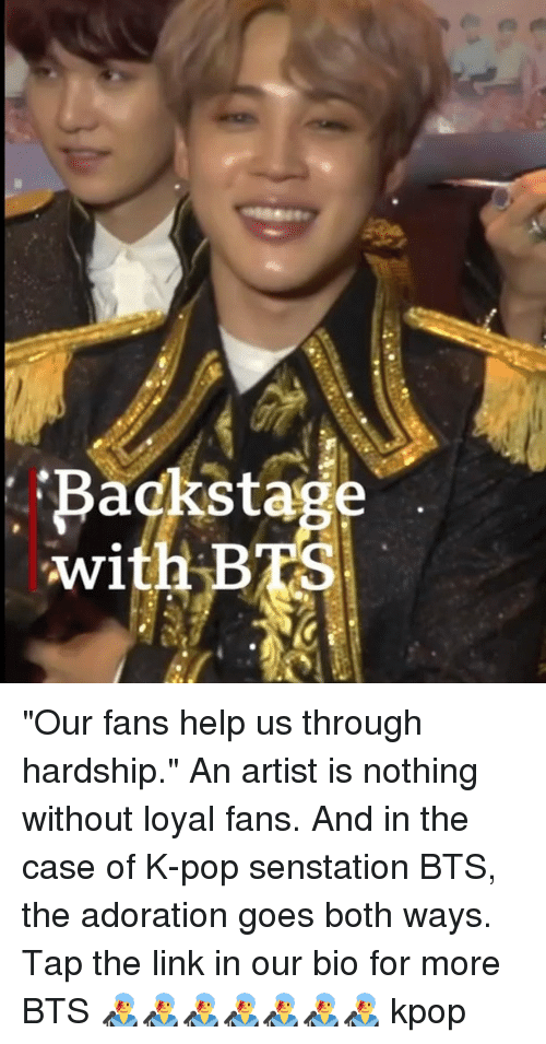"""Memes, Pop, and Help: Backstage  with BTS """"Our fans help us through hardship."""" An artist is nothing without loyal fans. And in the case of K-pop senstation BTS, the adoration goes both ways. Tap the link in our bio for more BTS 👨🎤👨🎤👨🎤👨🎤👨🎤👨🎤👨🎤 kpop"""