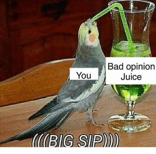 Bad, Juice, and You: Bad opinion  Juice  You