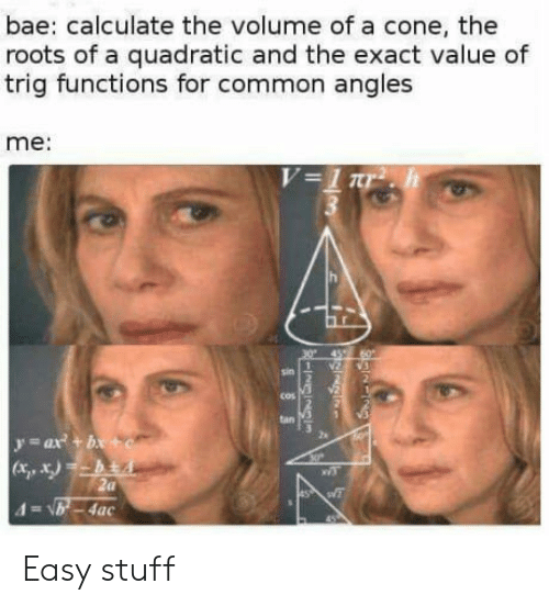 the roots: bae: calculate the volume of a cone, the  roots of a quadratic and the exact value of  trig functions for common angles  me:  cos  tan  zs  (Xi, X) Easy stuff