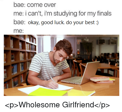 Bae, Come Over, and Finals: bae: come over  me: i can't, i'm studying for my finals  bae: okay, good luck do your best :)  me:  eE <p>Wholesome Girlfriend</p>