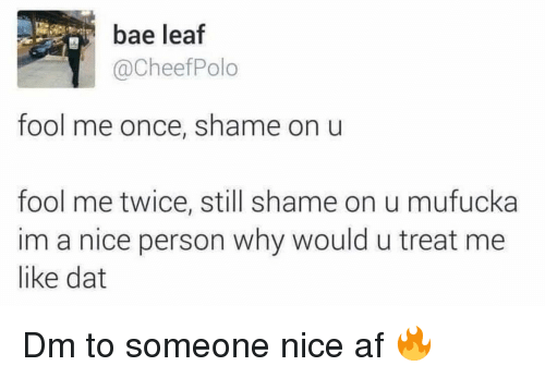 Af, Bae, and Memes: bae leaf  @CheefPolo  fool me once, shame on u  fool me twice, still shame on u mufucka  im a nice person why would u treat me  like dat Dm to someone nice af 🔥