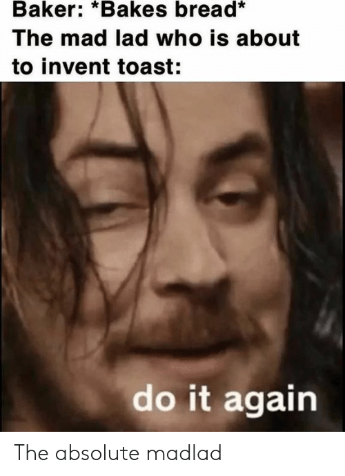 Do it Again: Baker: *Bakes bread*  The mad lad who is about  to invent toast:  do it again The absolute madlad