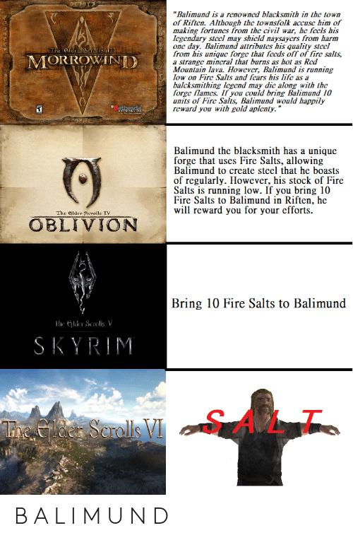 "Fire, Skyrim, and Civil War: ""Balimund is a renowncd blacksmith in the town  of Riften. Although the townsfolk accuse him of  making fortunes from the civil war, he fccls his  Icgendary stccl may shicld naysaycrs from harm  one day. Balimund attributes his quality stecl  from his unique forge that fccds off of fire salts,  a strange mincral that burns as hot as Red  Mountain lava. However, Balimund is running  low on Fire Salts and fcars his lifc as a  balcksmithing Icgend may dic along with the  forge flames. If you could bring Balimund 10  units of Fire Salts, Balimund would happily  reward you with gold aplenty.""  The e  MORROWANI  Balimund the blacksmith has a unique  forge that uses Fire Salts, allowing  Balimund to create steel that he boasts  of regularly. However, his stock of Fire  Salts is running low. If you bring 10  Fire Salts to Balimund in Riften, he  will reward you for your efforts  The lder Scrolls TV  OBLIVION  Bring 10 Fire Salts to Balimund  SKYRIM  SALT  L1. B A L I M U N D"
