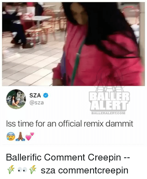 Dammits: BALLER  ALERT  @sza  BALLERALERT.COM  Iss time for an official remix dammit Ballerific Comment Creepin -- 🌾👀🌾 sza commentcreepin