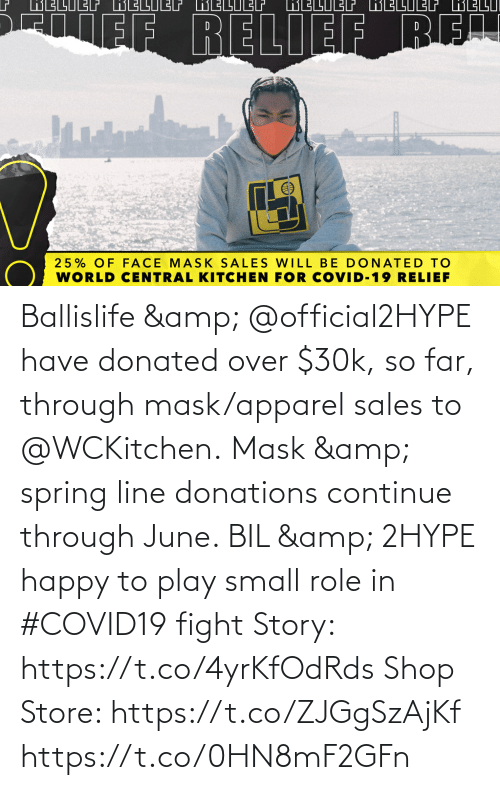 sales: Ballislife & @official2HYPE have donated over $30k, so far, through mask/apparel sales to @WCKitchen.  Mask & spring line donations continue through June.   BIL & 2HYPE happy to play small role in #COVID19 fight  Story: https://t.co/4yrKfOdRds  Shop Store: https://t.co/ZJGgSzAjKf https://t.co/0HN8mF2GFn