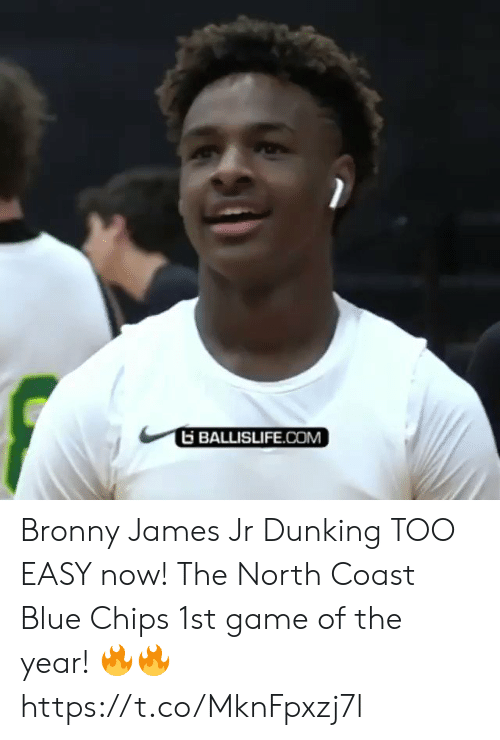 dunking: BALLISLIFE.COM Bronny James Jr Dunking TOO EASY now! The North Coast Blue Chips 1st game of the year! 🔥🔥 https://t.co/MknFpxzj7l