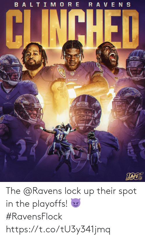 Rave: BALTI MORE RAVENS  CJINCHED  RLAVE  RAVENS  RAVENS  494  RAVENS  WILLANS  RAVENS  56  RAVE The @Ravens lock up their spot in the playoffs! 😈 #RavensFlock https://t.co/tU3y341jmq