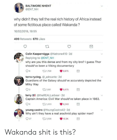 Carolina Panthers: BALTIMORE NHENT  @ENT NH  why didn't they tell the real rich history of Africa instead  of some fictitious place called Wakanda?  16/02/2018, 18:55  499 Retweets 670 Likes  Colin Kaepernigga @Natrone410 2d  Replying to @ENT NH  why are you this dense and from my city bro? I guess Thor  should've been a Viking documentary  131,759  9,975  terra ryzing. adrxante 2d  Guardians of the Galaxy should've accurately depicted the  Milky Way  11,681  9,475  larry@theREALLarbear 2d  Captain America: Civil War should've taken place in 1863  6  11,433  8,240  young castro @YoungCastro42.2d  Why ain't they have a real arachnid play spider man?  27  t1,938  10.3K Wakanda shit is this?