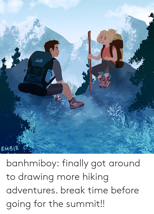 summit: banhmiboy:  finally got around to drawing more hiking adventures. break time before going for the summit!!