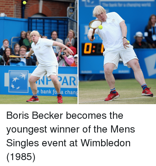 Bank, Singles, and Wimbledon: bank fo Ja chang Boris Becker becomes the youngest winner of the Mens Singles event at Wimbledon (1985)
