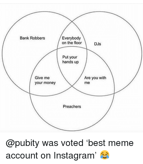 Instagram, Meme, and Memes: Bank Robbers  Everybody  on the foor  Dus  DJs  Put your  hands up  Give me  your money  Are you with  me  Preachers @pubity was voted 'best meme account on Instagram' 😂