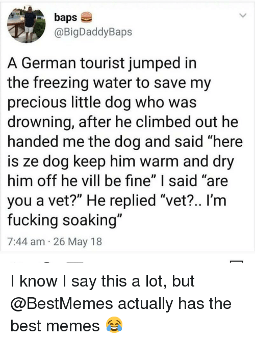 """Tourist: baps  @BigDaddyBaps  A German tourist jumped in  the freezing water to save my  precious little dog who was  drowning, after he climbed out he  handed me the dog and said """"here  is ze dog keep him warm and dry  him off he vill be fine"""" I said """"are  you a vet?"""" He replied """"vet?.. I'm  fucking soaking""""  7:44 am 26 May 18 I know I say this a lot, but @BestMemes actually has the best memes 😂"""