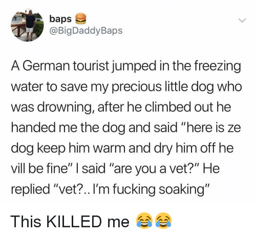 """Tourist: baps  @BigDaddyBaps  A German tourist jumped in the freezing  water to save my precious little dog who  was drowning, after he climbed out he  handed me the dog and said """"here is ze  dog keep nim Warm and dry nim off ne  vill be fine"""" I said """"are you a vet?"""" He  replied """"vet?.. I'm fucking soaking"""" This KILLED me 😂😂"""