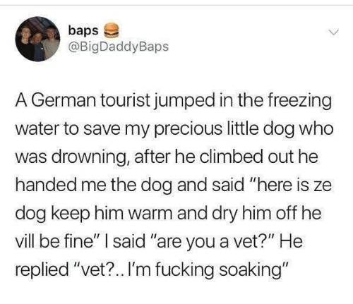 """Tourist: baps  @BigDaddyBaps  A German tourist jumped in the freezing  water to save my precious little dog who  was drowning, after he climbed out he  handed me the dog and said """"here is ze  dog keep him warm and dry him off he  vill be fine"""" said """"are you a vet?"""" He  replied """"vet?.. I'm fucking soaking"""""""