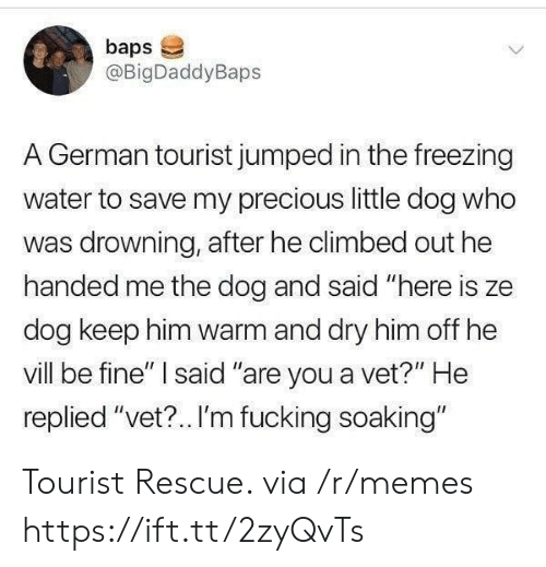 """Tourist: baps  @BigDaddyBaps  A German tourist jumped in the freezing  water to save my precious little dog who  was drowning, after he climbed out he  handed me the dog and said """"here is ze  dog keep him warm and dry him off he  vill be fine"""" said """"are you a vet?"""" He  replied """"vet?.. I'm fucking soaking"""" Tourist Rescue. via /r/memes https://ift.tt/2zyQvTs"""