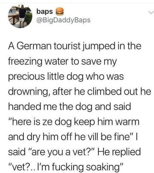 "L: baps  @BigDaddyBaps  L.  A German tourist jumped in the  freezing water to save my  precious little dog who was  drowning, after he climbed out he  handed me the dog and said  ""here is ze dog keep him warm  and dry him off he vill be fine"" 