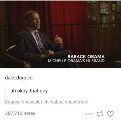 Obama, Barack Obama, and Okay: BARACK OBAMA  MICHELLE OBAMA'S HUSBAND  dark-dagger:  ah okay, that guy  Source: shesaslut-shesahoe-shesafreak  387,712 notes
