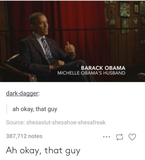 Obama, Barack Obama, and Okay: BARACK OBAMA  MICHELLE OBAMA'S HUSBAND  dark-dagger:  ah okay, that guy  Source: shesaslut-shesahoe-shesafrealk  387,712 notes Ah okay, that guy