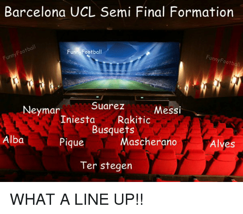 Memes, Neymar, and Formation: Barcelona UCL Semi Final Formation  Funny Football  Foo  Fun  unny Footb  Suarez  Neymar  Messi  Iniesta  Rakitic  Busquets  Alba  Mascherano  Pique  Alves  Ter Stegen WHAT A LINE UP!!