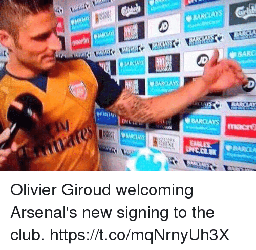 Club, Soccer, and Barclays: BARCLAYS  BARC  BARCLAYS Olivier Giroud welcoming Arsenal's new signing to the club. https://t.co/mqNrnyUh3X