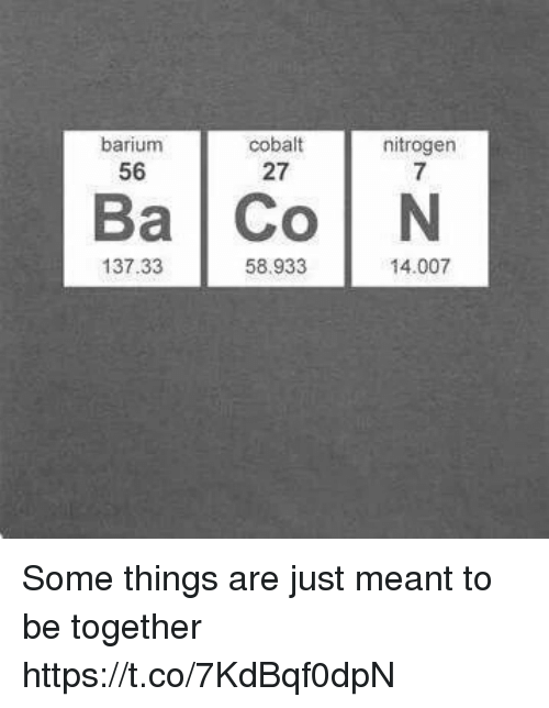 cobalt: barium  56  cobalt  27  nitrogen  7  Ba Co N  137.33  58.933  14.007 Some things are just meant to be together https://t.co/7KdBqf0dpN