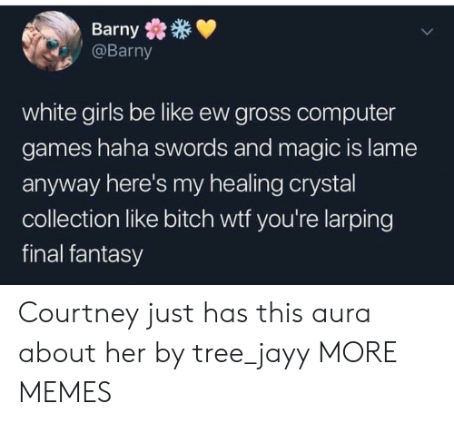 courtney: Barny  @Barny  white girls be like ew gross computer  games haha swords and magic is lame  anyway here's my healing crystal  collection like bitch wtf you're larping  final fantasy Courtney just has this aura about her by tree_jayy MORE MEMES