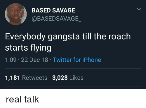 Gangsta, Iphone, and Memes: BASED SAVAGE  @BASEDSAVAGE  Everybody gangsta till the roach  starts flying  1:09 22 Dec 18 Twitter for iPhone  1,181 Retweets 3,028 Likes real talk