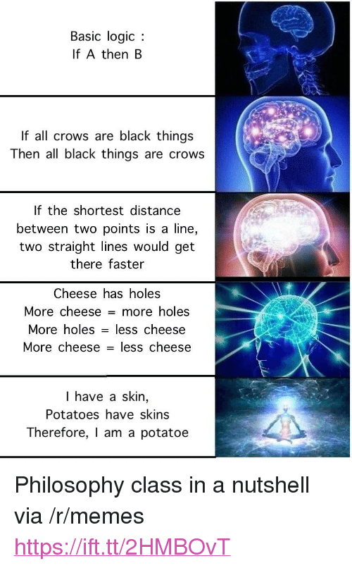 """potatoe: Basic logic  If A then B  If all crows are black things  Then all black things are crows  If the shortest distance  between two points is a line,  two straight lines would get  there faster  Cheese has holes  More cheese = more holes  More holes - less  cheese  More cheese - less cheese  I have a skin,  Potatoes have skins  Therefore, I am a potatoe <p>Philosophy class in a nutshell via /r/memes <a href=""""https://ift.tt/2HMBOvT"""">https://ift.tt/2HMBOvT</a></p>"""