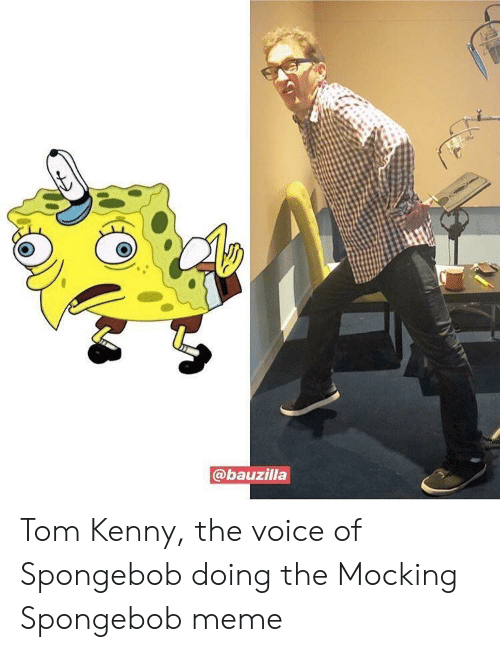 Meme, SpongeBob, and The Voice: @bauzilla Tom Kenny, the voice of Spongebob doing the Mocking Spongebob meme