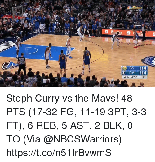 Memes, Statefarm, and Steph Curry: BAY ARE  LA  StateFarm  5  2S  5  23  GS 114  DAL 114  4th :47.0 :11 Steph Curry vs the Mavs!  48 PTS (17-32 FG, 11-19 3PT, 3-3 FT), 6 REB, 5 AST, 2 BLK, 0 TO  (Via @NBCSWarriors)  https://t.co/n51IrBvwmS