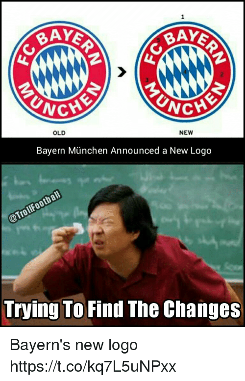 bayern munchen: BAY  BAY  CHE  NG  NEW  OLD  Bayern Munchen Announced a New Logo  Football  @Troll Trying To  Find The Changes Bayern's new logo https://t.co/kq7L5uNPxx