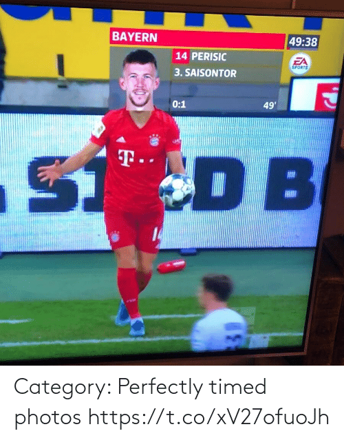 Bayern: BAYERN  49:38  14 PERISIC  EA  SPORTS  3. SAISONTOR  0:1  49'  S DB  T.  14 Category: Perfectly timed photos https://t.co/xV27ofuoJh