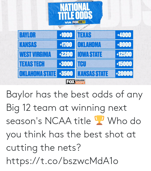 You Think: Baylor has the best odds of any Big 12 team at winning next season's NCAA title 🏆  Who do you think has the best shot at cutting the nets? https://t.co/bszwcMdA1o