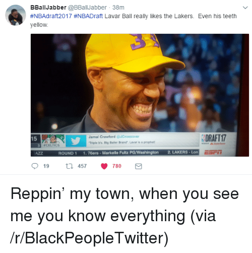 Philadelphia 76ers, Blackpeopletwitter, and Los Angeles Lakers: BBallJabber @BBallJabber 38m  #NBAdraft2017 #NBADraft Lavar Ball really likes the Lakers. Even his teeth  yellow  Jamal Crawford JCrossover  Triple b's. Big Baler Brand Lavar is a prophet  DRAFT 17  15  뀨CELTICS  ROUND 1 1.76ers- Markelle Fultz PG/Washington 2. LAKERS-Lon  19th 457 780 <p>Reppin&rsquo; my town, when you see me you know everything (via /r/BlackPeopleTwitter)</p>