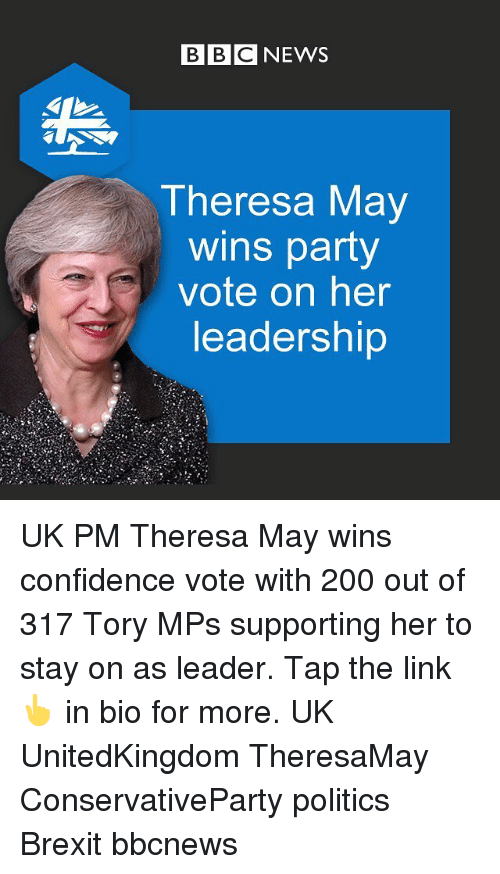 Bailey Jay, Confidence, and Memes: BBC NEWS  Theresa May  wins party  vote on her  leadership UK PM Theresa May wins confidence vote with 200 out of 317 Tory MPs supporting her to stay on as leader. Tap the link 👆 in bio for more. UK UnitedKingdom TheresaMay ConservativeParty politics Brexit bbcnews