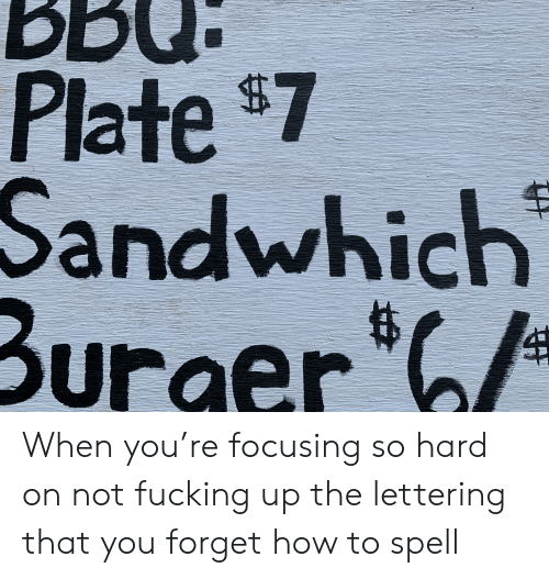 Fucking, How To, and How: BBd  Plate $7  Sandwhich  Burger When you're focusing so hard on not fucking up the lettering that you forget how to spell