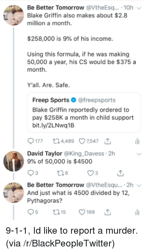 Divided By: Be Better Tomorrow @VtheEsq. 10h  Blake Griffin also makes about $2.8  million a month  $258,000 is 9% of his income  Using this formula, if he was making  50,000 a year, his CS would be $375 a  month  Y'all. Are. Safe  Freep Sports@freepsports  Blake Griffin reportedly ordered to  pay $258K a month in child support  bit.ly/2LNwq1B  177 t24489 07,547  David Taylor @King _Davess 2h  9% of 50,000 is $4500  Be Better Tomorrow @VtheEsqu....2h  And just what is 4500 divided by 12,  Pythagoras?  t01  5199 9-1-1, Id like to report a murder. (via /r/BlackPeopleTwitter)