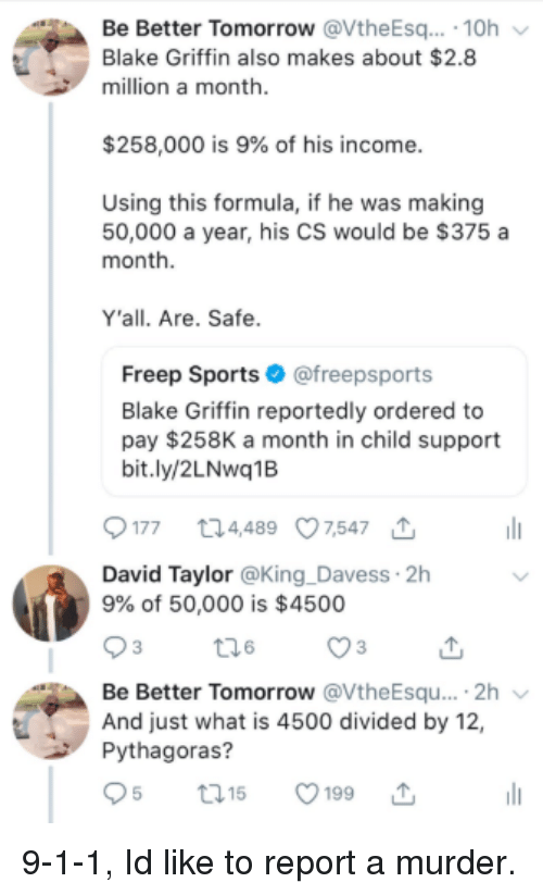Divided By: Be Better Tomorrow @VtheEsq. 10h  Blake Griffin also makes about $2.8  million a month  $258,000 is 9% of his income  Using this formula, if he was making  50,000 a year, his CS would be $375 a  month  Y'all. Are. Safe  Freep Sports@freepsports  Blake Griffin reportedly ordered to  pay $258K a month in child support  bit.ly/2LNwq1B  177 t24489 07,547  David Taylor @King _Davess 2h  9% of 50,000 is $4500  Be Better Tomorrow @VtheEsqu....2h  And just what is 4500 divided by 12,  Pythagoras?  t01  5199 9-1-1, Id like to report a murder.