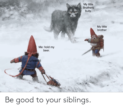 Be Good: Be good to your siblings.