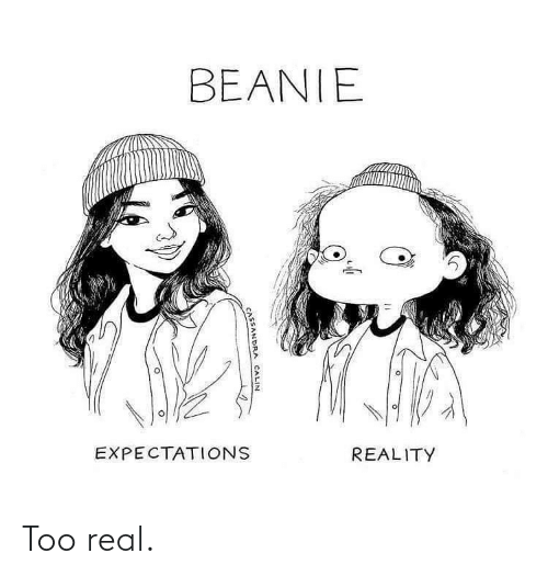 Too Real: BEANIE  EXPECTATIONS  REALITY  CASSANDRA CALIN Too real.