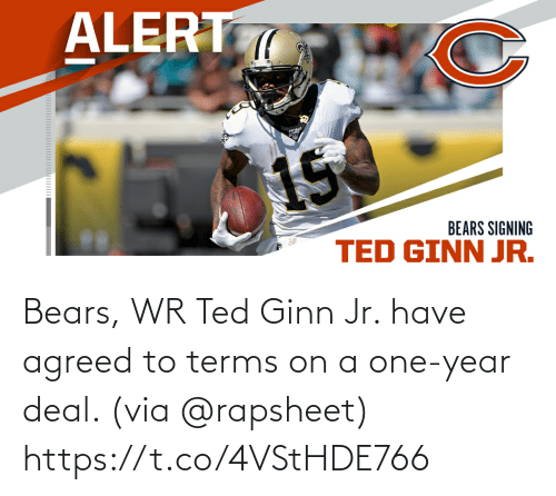 Ted: Bears, WR Ted Ginn Jr. have agreed to terms on a one-year deal. (via @rapsheet) https://t.co/4VStHDE766