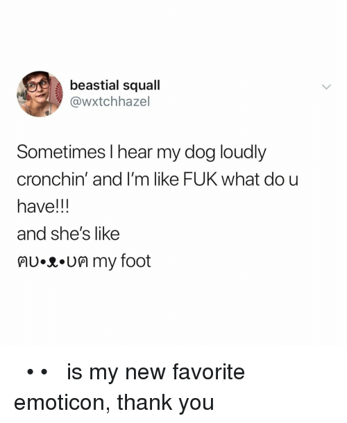 Dou: beastial squall  @wxtchhazel  Sometimes l hear my dog loudly  cronchin' and I'm like FUK what dou  have!!  and she's like  lU.R.UM my foot ฅʋ•ᴥ•ʋฅ is my new favorite emoticon, thank you